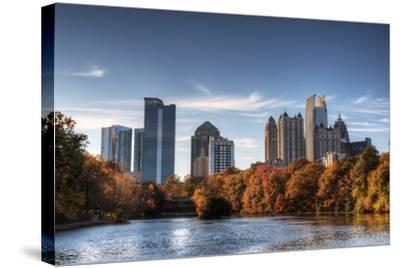 Skyline and Reflections of Midtown Atlanta, Georgia in Lake Meer from Piedmont Park.-SeanPavonePhoto-Stretched Canvas Print