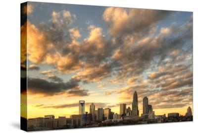 Skyline of Uptown Charlotte, North Carolina under Dramatic Cloud Cover.-SeanPavonePhoto-Stretched Canvas Print