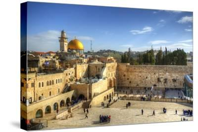 Western Wall and Dome of the Rock in the Old City of Jerusalem, Israel.-SeanPavonePhoto-Stretched Canvas Print