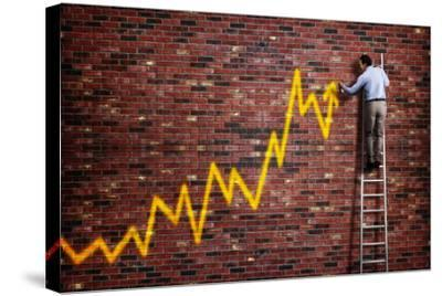 Businessman Standing on a Ladder and Drawing a Graph with Positive Trend in Graffiti Style Yellow S-Flynt-Stretched Canvas Print