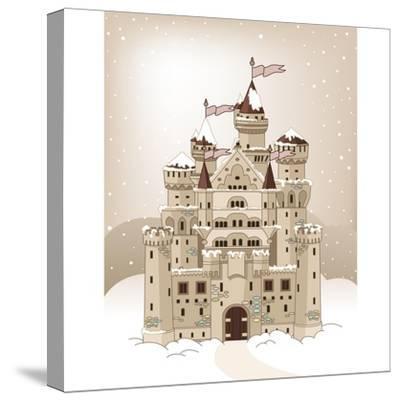 Magic Fairy Tale Winter Princess Castle. Raster Version.-Dazdraperma-Stretched Canvas Print