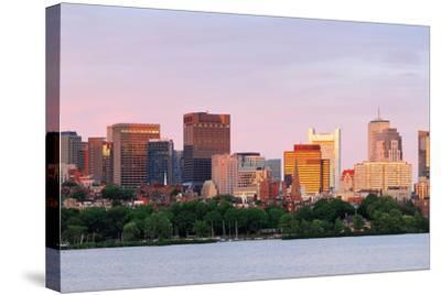 Boston Charles River Sunset with Urban Skyline and Skyscrapers-Songquan Deng-Stretched Canvas Print