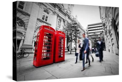 Business Life Concept in London, the Uk. Red Phone Booth, People in Suits Walking-Michal Bednarek-Stretched Canvas Print