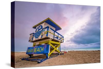 Miami Beach, Florida, USA Life Guard Tower.-SeanPavonePhoto-Stretched Canvas Print