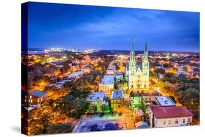 Savannah, Georgia Downtown Skyline at the Cathedral.-SeanPavonePhoto-Stretched Canvas Print