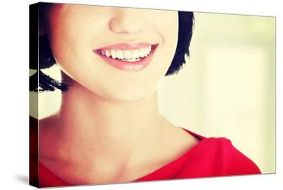 Beautiful Woman with Her Perfect Straight White Teeth.-B-D-S-Stretched Canvas Print
