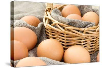 Close-Up of Brown Eggs-Morganka-Stretched Canvas Print
