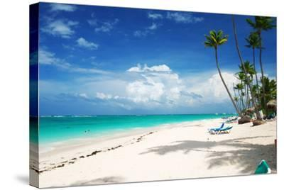Beautiful Caribbean Beach in Dominican Republic-haveseen-Stretched Canvas Print