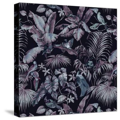 Jungle Canopy Midnight-Bill Jackson-Stretched Canvas Print