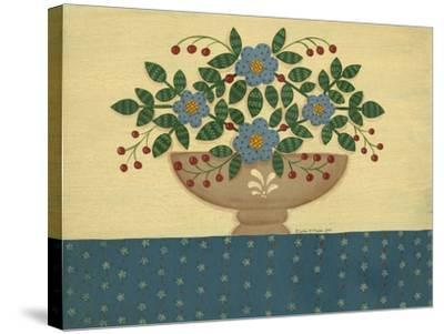Lt. Blue Flowers with Dark Blue Talecloth-Debbie McMaster-Stretched Canvas Print