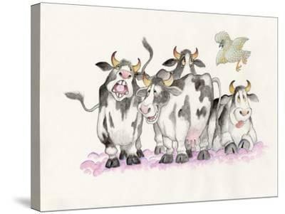 Cows and Duck-Bill Bell-Stretched Canvas Print