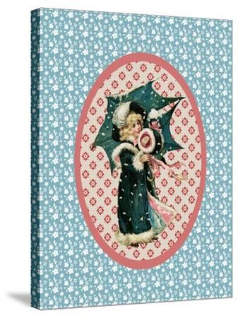 Vintage Christmas Card Girl with Umbrella 2-Effie Zafiropoulou-Stretched Canvas Print