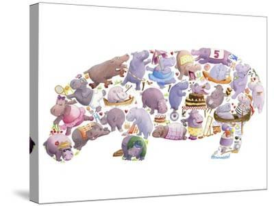 Hippo-Louise Tate-Stretched Canvas Print