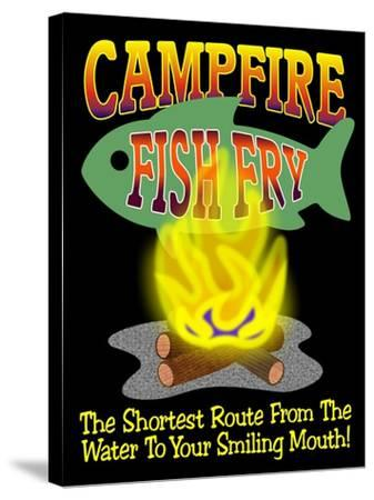 Campfire Fish Fry-Mark Frost-Stretched Canvas Print