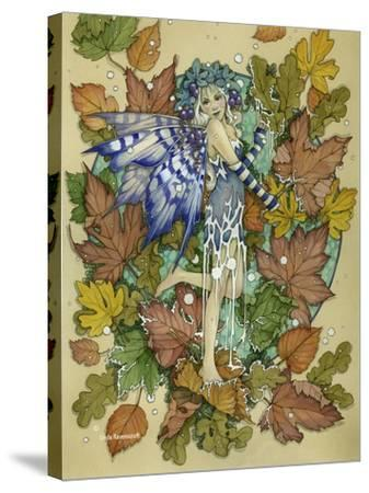 Winter Leaf Fairy-Linda Ravenscroft-Stretched Canvas Print