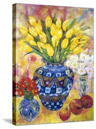 Yellow Tulips in a Blue and Gold Pot-Lorraine Platt-Stretched Canvas Print