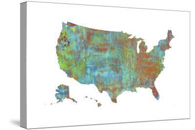 U.S.A. Map 3-Marlene Watson-Stretched Canvas Print