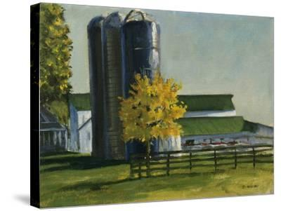 Silos by a Farm-Michael Budden-Stretched Canvas Print