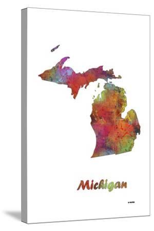 Michigan State Map 1-Marlene Watson-Stretched Canvas Print