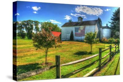 White Barn and Flag-Robert Goldwitz-Stretched Canvas Print