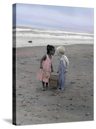 Boy and Girl Holding Picnic Basket Looking at Each Other-Nora Hernandez-Stretched Canvas Print