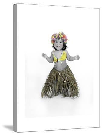 Little Girl Dressed as Hula Dancer-Nora Hernandez-Stretched Canvas Print