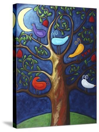 Moon over Lovebirds Family-Sara Catena-Stretched Canvas Print