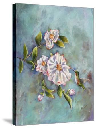 Hummingbird with Camellias-Sarah Davis-Stretched Canvas Print