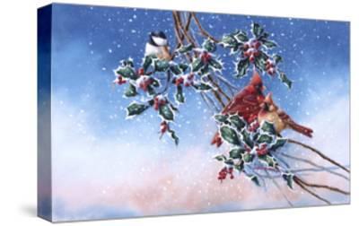 Cardinals and Chickadee-Wanda Mumm-Stretched Canvas Print
