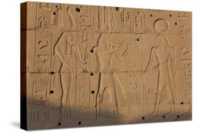 Temple Relief and Hieroglyphics, Karnak, Luxor, Egypt-Peter Adams-Stretched Canvas Print