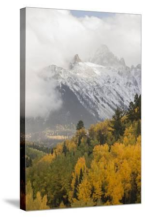 Colorado, Sneffels Range. Snow Clouds over Mt Sneffels at Sunset-Don Grall-Stretched Canvas Print