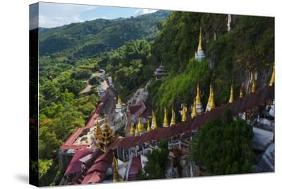 Pagodas and Stairs Leading to Pindaya Cave, Shan State, Myanmar-Keren Su-Stretched Canvas Print