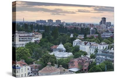 Bulgaria, Southern Mountains, Plovdiv, View from Nebet Tepe Hill, Dusk-Walter Bibikow-Stretched Canvas Print