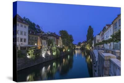 Slovenia, Ljubljana, Ljubljana River at Dawn-Rob Tilley-Stretched Canvas Print