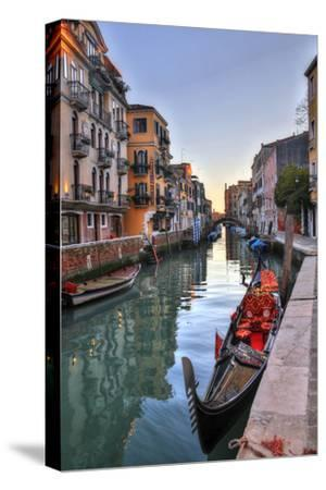 Gondolas Along the Canals of Venice, Italy-Darrell Gulin-Stretched Canvas Print