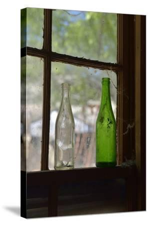 USA, Arizona, Jerome, Gold King Mine. Old Bottles in a Window-Kevin Oke-Stretched Canvas Print
