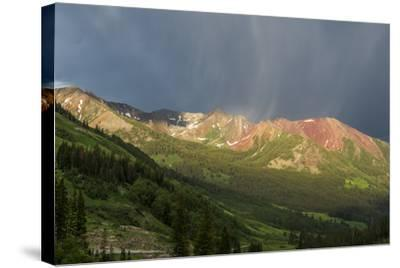 Virga and Storm Moving over Mountains in Colorado-Howie Garber-Stretched Canvas Print