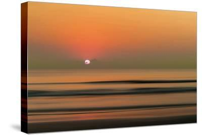 Sunset over Rippled Water-Sheila Haddad-Stretched Canvas Print