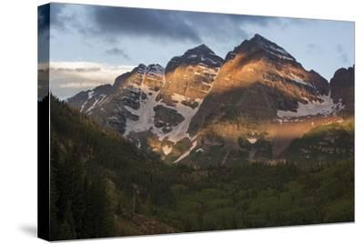 Colorado, Maroon Bells State Park. Sunrise on Maroon Bells Mountains-Don Grall-Stretched Canvas Print