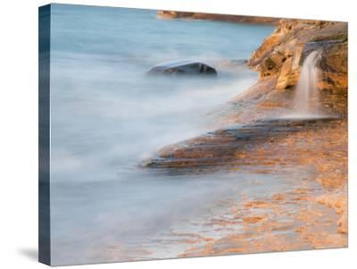 Michigan, Upper Peninsula. Waterfall Along the Edge of Lake Superior-Julie Eggers-Stretched Canvas Print