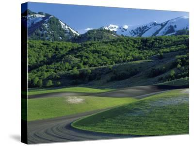Utah. USA. Fields in Spring Below Wellsville Mountains. Cache Valley-Scott T^ Smith-Stretched Canvas Print