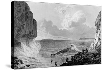 Franklin's expedition landing in a storm,1821-George Back-Stretched Canvas Print