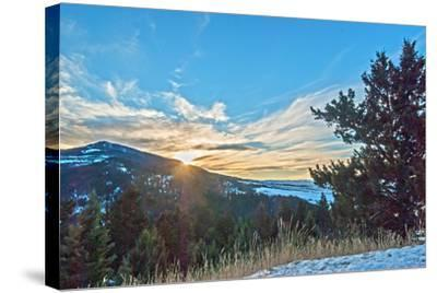 The Sun Sets Behind Mount Ellis in Montana's Gallatin Range of the Rocky Mountains-Gordon Wiltsie-Stretched Canvas Print