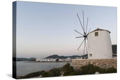 A Windmill on the Coast at Twilight, in Parikia-Sergio Pitamitz-Stretched Canvas Print