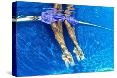 Ballerinas Dancing Underwater in a Swimming Pool-Kike Calvo-Stretched Canvas Print