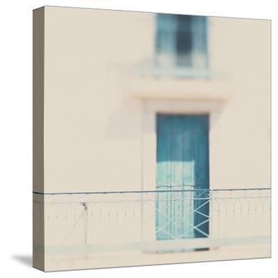 French Building with Balcony and Blue Door-Laura Evans-Stretched Canvas Print