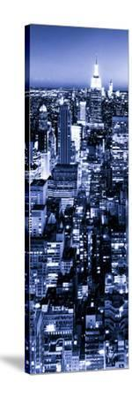 View of City, Vertical Panoramic Landscape View by Night, Midtown Manhattan, Manhattan, NYC-Philippe Hugonnard-Stretched Canvas Print