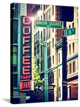Coffee Shop Bar Sign, Union Square, Manhattan, New York, United States-Philippe Hugonnard-Stretched Canvas Print