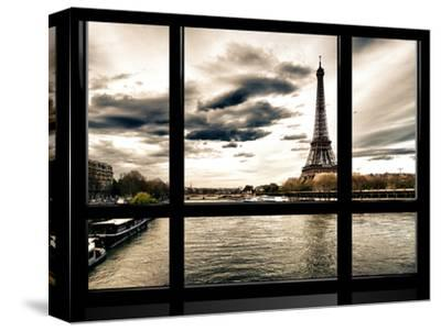 Window View, Special Series, the Eiffel Tower and Seine River Views, Paris, France, Europe-Philippe Hugonnard-Stretched Canvas Print