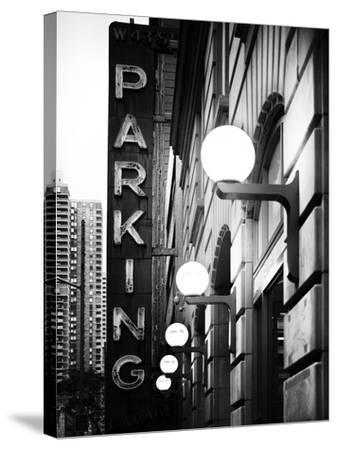 Garage Parking Sign, W 43St, Times Square, Manhattan, New York, US, Black and White Photography-Philippe Hugonnard-Stretched Canvas Print